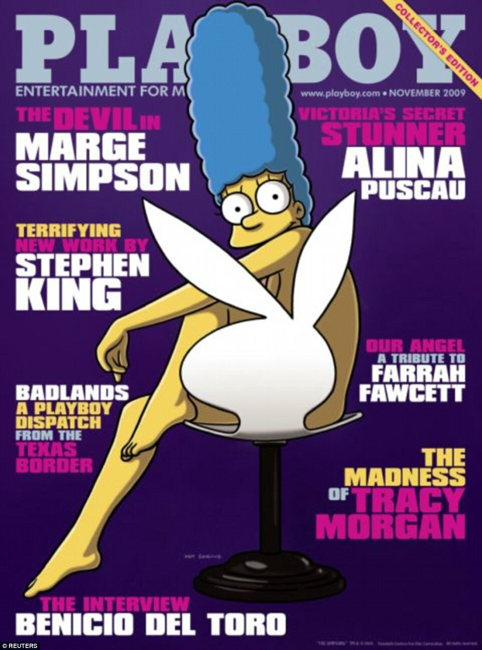"""Okładka magazynu """"Playboy"""" - listopad 2009 Marge Simpson na okładce """"Playboya"""" w ramach uczczenia 20. rocznicy """"The Simpsons""""."""