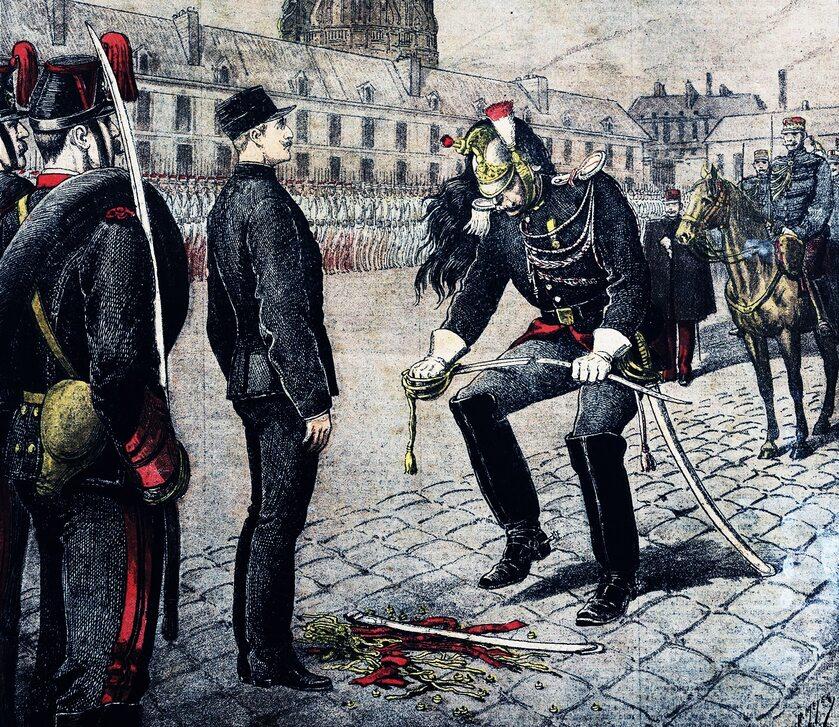 Degradacja Alfreda Dreyfusa na ilustracji z epoki