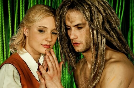 Dominika Kramarczyk (Jane) i Paweł Kubat (Tarzan); fot. materiały prasowe GTM i DMiT