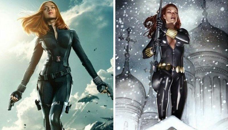 Black Widow (po lewej w filmie, po prawej zgodnie z komiksem)