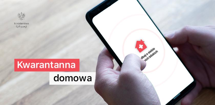 """Grafika reklamująca aplikację """"Kwarantanna domowa"""""""
