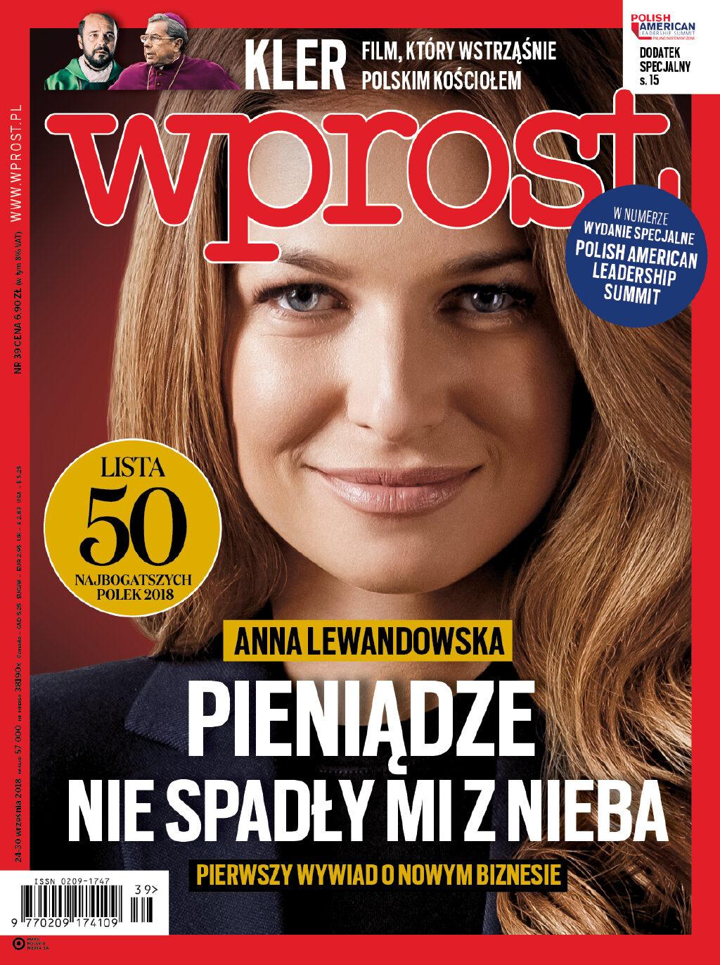 Okładka tygodnika Wprost nr 39/2018 (1854)